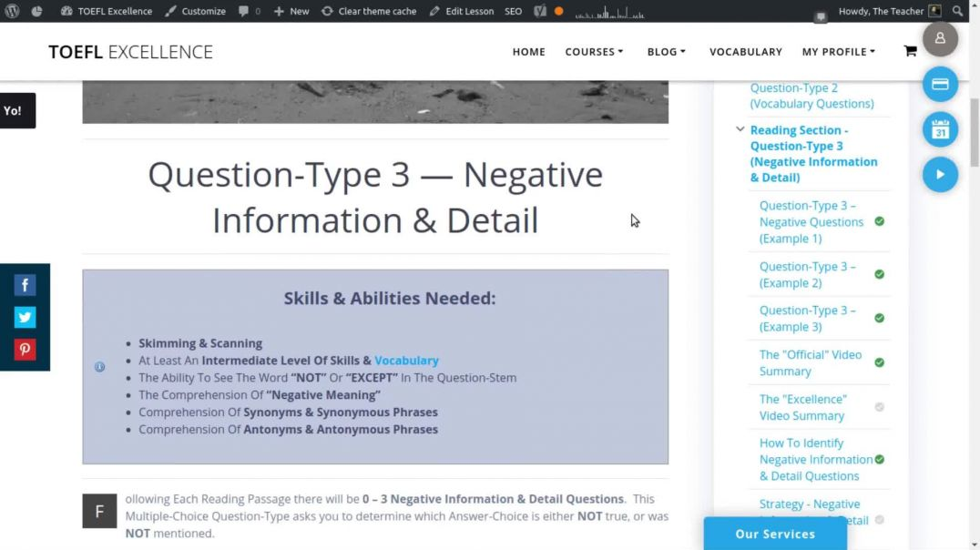 TOEFL Reading Section - Negative Information & Detail Questions (Summary) - TOEFL Excellence