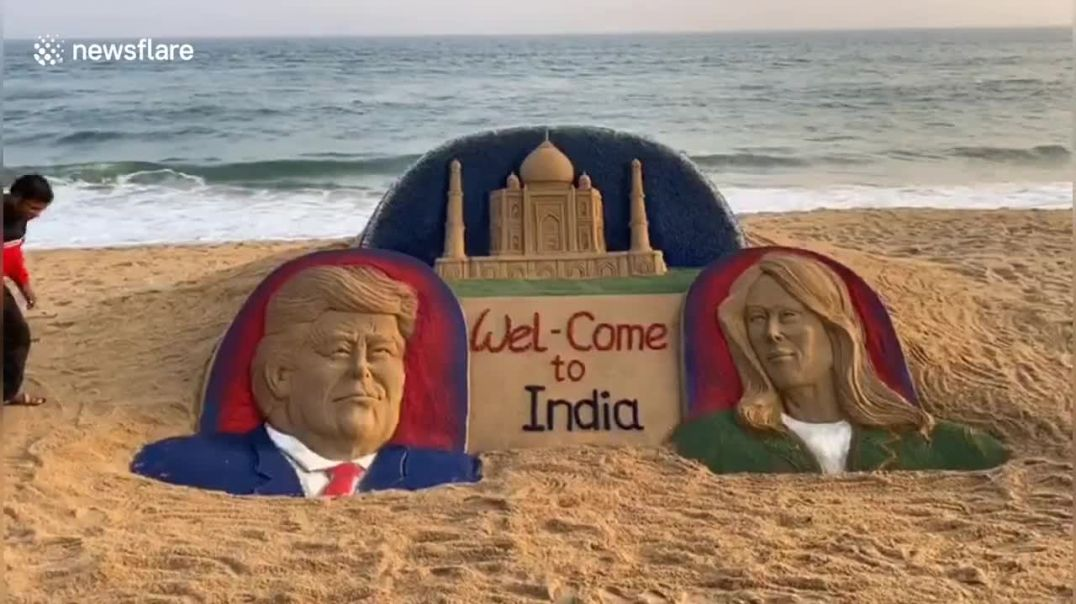 Incredible Sand Artist Welcomes Trump to India