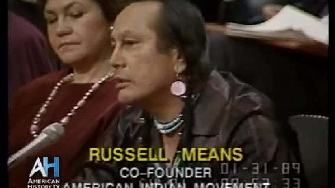 ⁣1989 - American Indian Activist Russell Means testifies at Senate Hearing