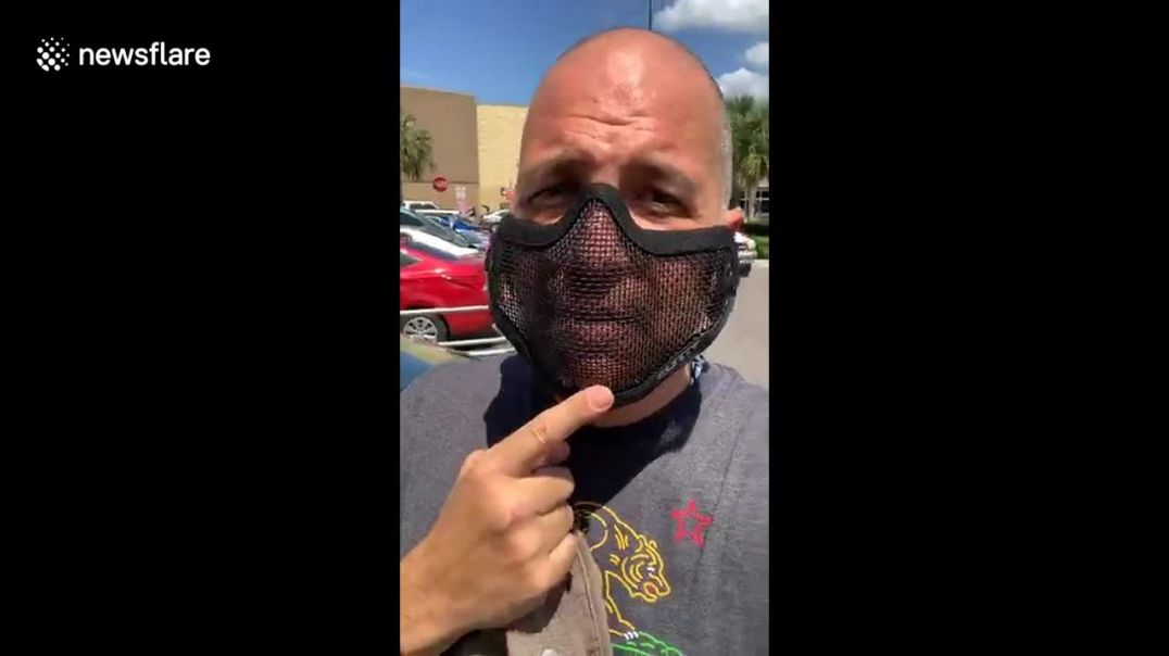 Man wears a mesh face mask: its not about protection but compliance