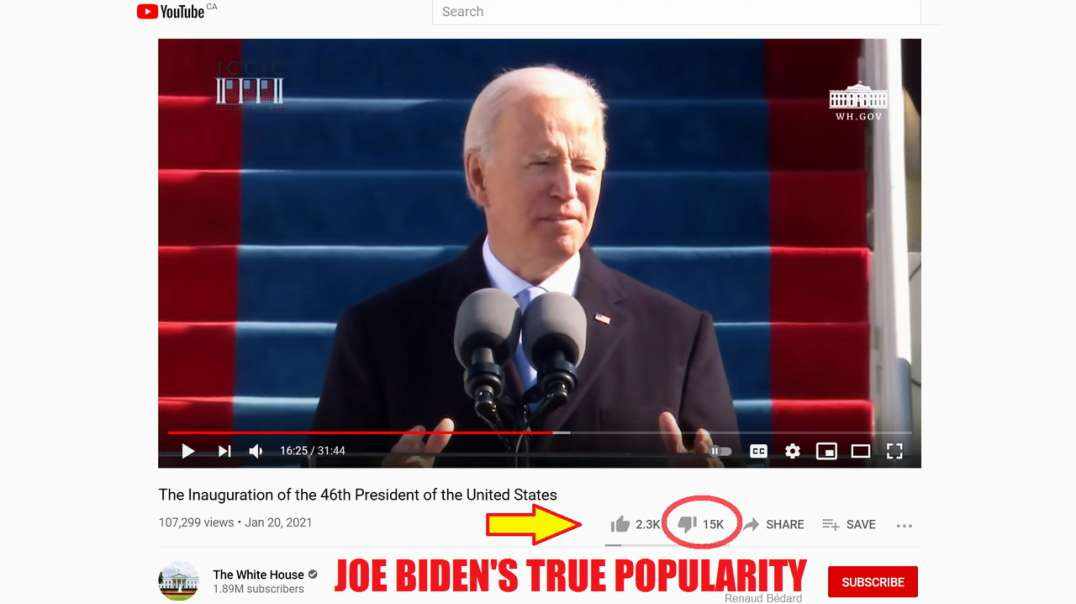 JOE BIDEN'S UNPOPULARITY ON HIS OWN YOUTUBE WHITE HOUSE ACCOUNT IS VERY REVEALING