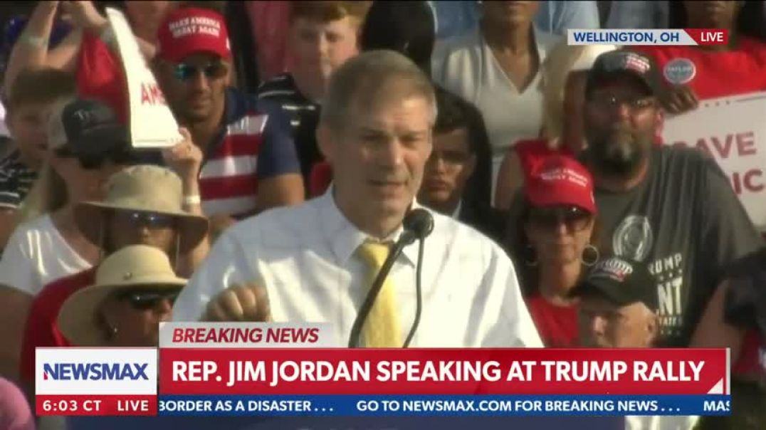 Crowd chants Lock her up after Jordan mentions Pelosi  Save America Rally in Wellington, Ohio