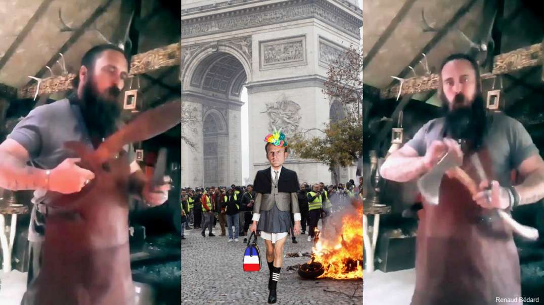 JUST A FRENCH PATRIOT WHISTLING LA MARSEILLAISE WHILE SHARPENING HIS AXES AND KNIVES